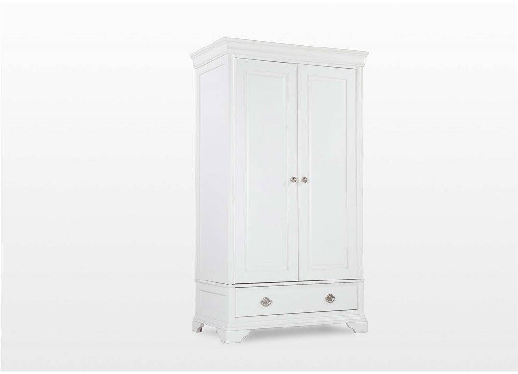 Two Door One Drawer White Wardrobe - Chantilly for Two Door White Wardrobes (Image 11 of 15)