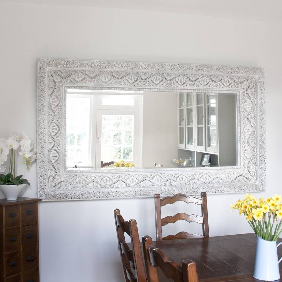 Two Metre Large 'shabby Chic' Whitewashed Mirrordecorative Regarding Shabby Chic Large Mirrors (View 24 of 25)