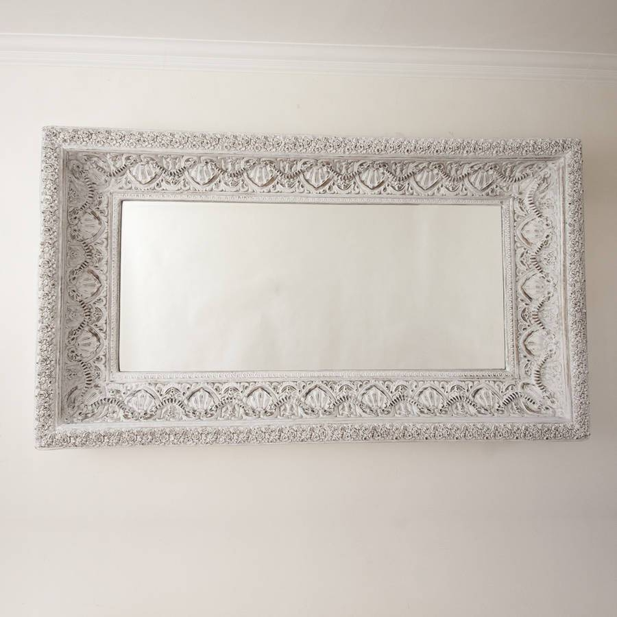 Two Metre Large 'shabby Chic' Whitewashed Mirrordecorative throughout Large Shabby Chic Mirrors (Image 24 of 25)