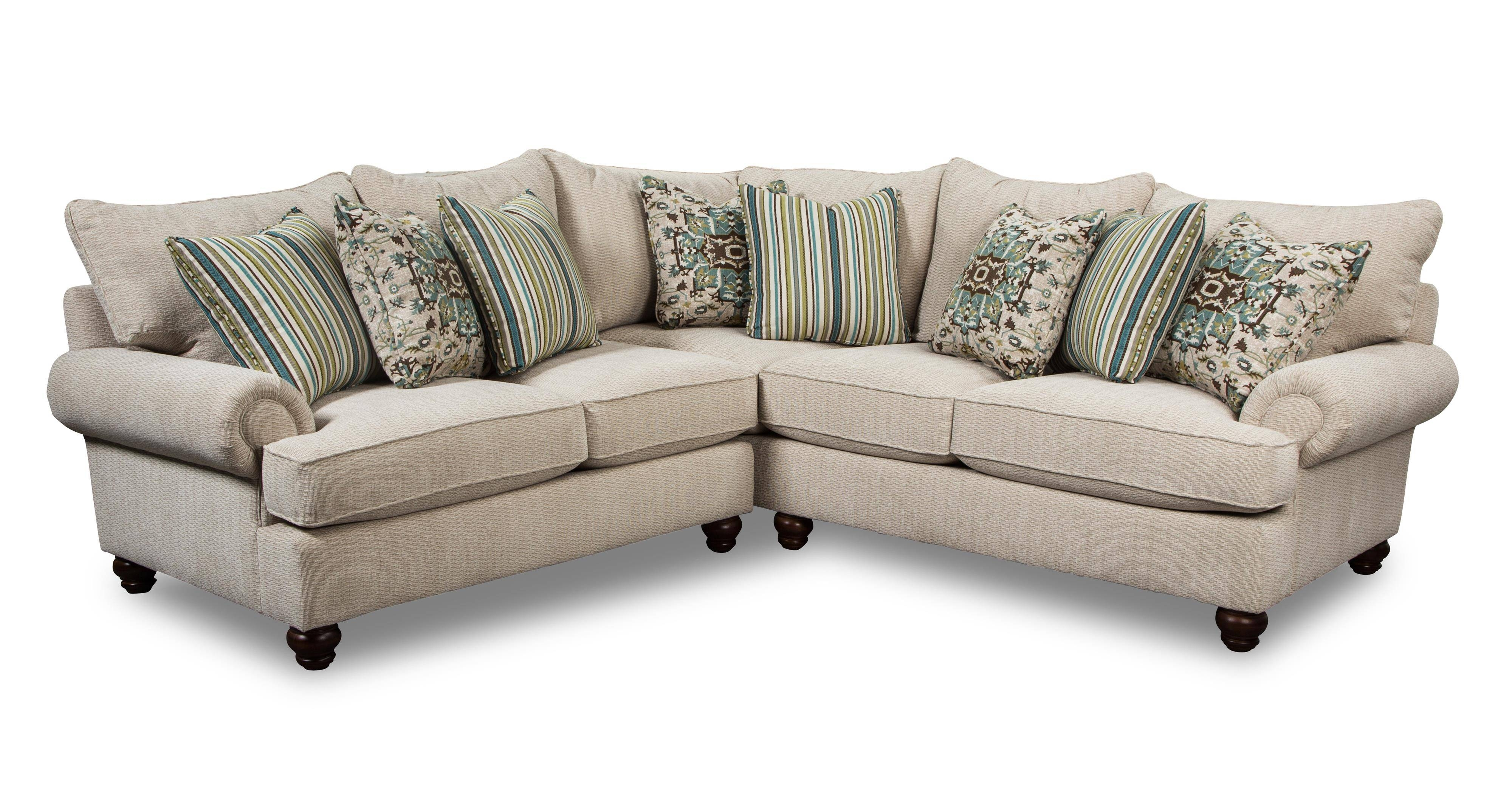 Two Piece Sectional Sofa With Turned Wood Feetcraftmaster in 10 Piece Sectional Sofa (Image 29 of 30)