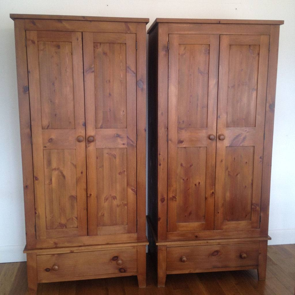 Two Soild Victorian Style Pine Wood Wardrobes With Bottom Draws intended for Victorian Wardrobes (Image 6 of 15)