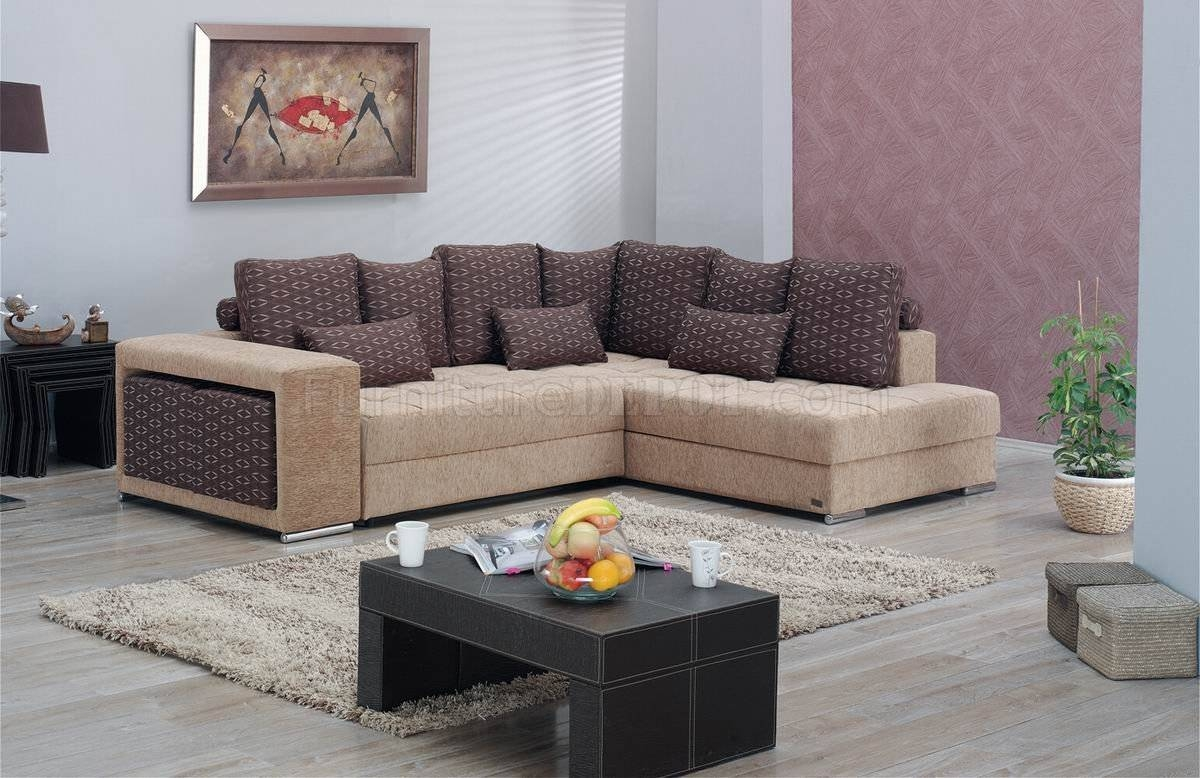 Two-Tone Fabric Modern Convertible Sectional Sofa W/storage pertaining to Convertible Sectional Sofas (Image 25 of 30)