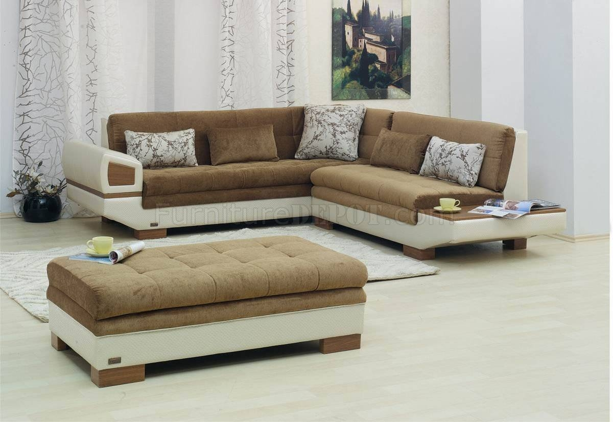 Two-Tone Fabric & Vinyl Modern Sectional Sofa W/optional Ottoman in Two Tone Sofas (Image 26 of 30)
