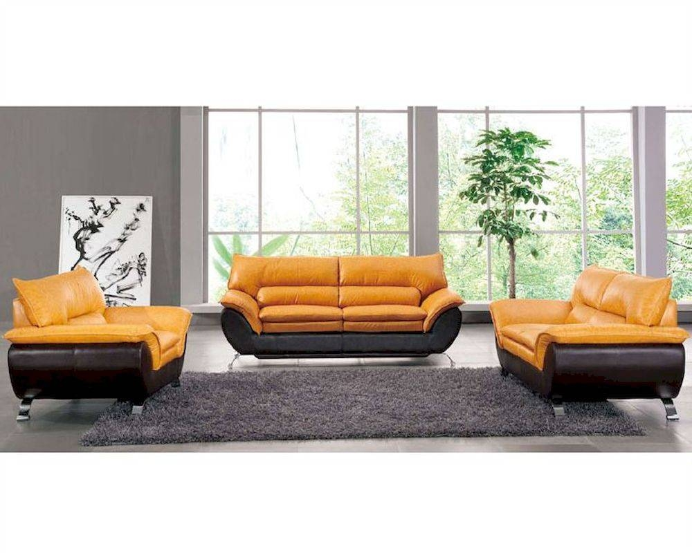 Two Tone Italian Leather Sofa Bed European Design 33Ss222 intended for Two Tone Sofas (Image 24 of 30)
