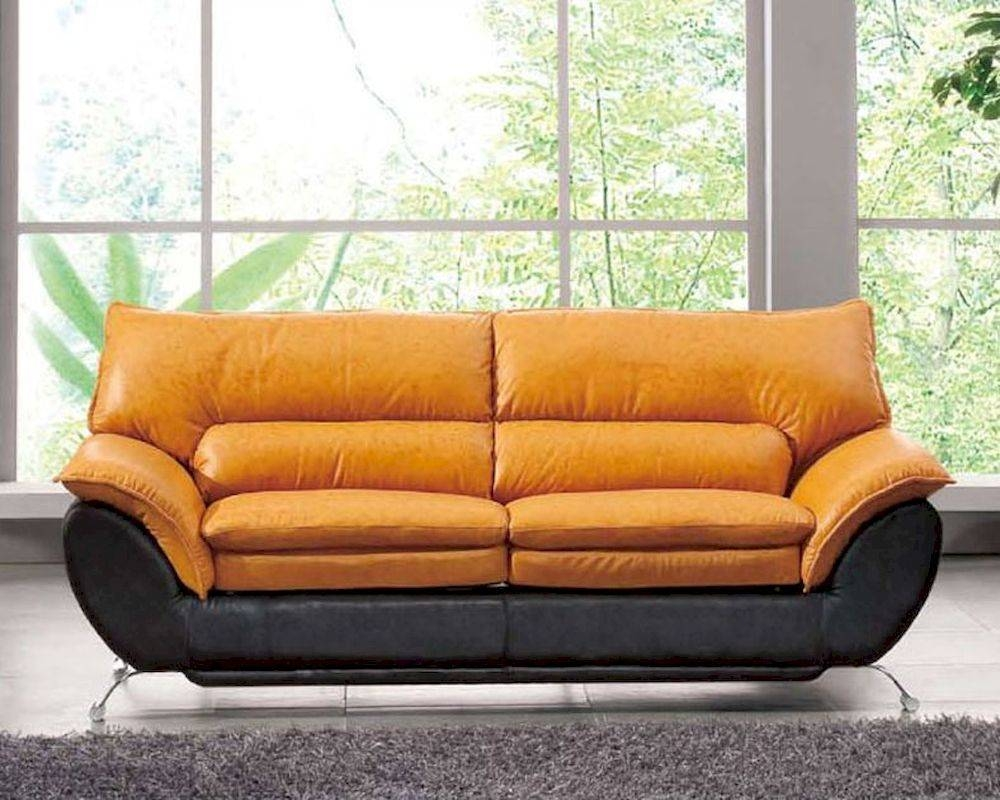 Two Tone Italian Leather Sofa Bed European Design 33Ss222 With Regard To  European Leather Sofas (