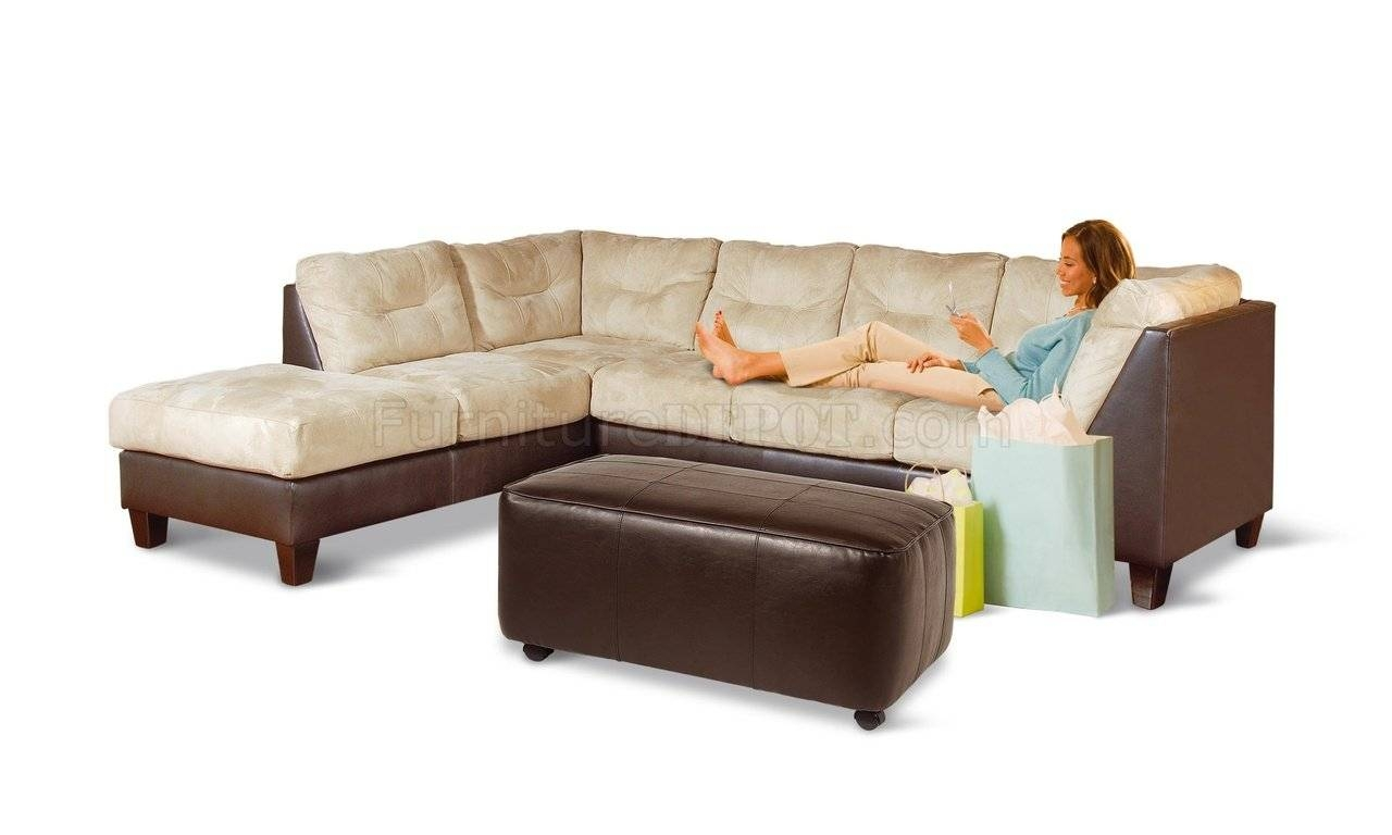 Two-Toned Contemporary Sectional Sofa W/extra Long Chaise with regard to Long Chaise Sofa (Image 24 of 25)