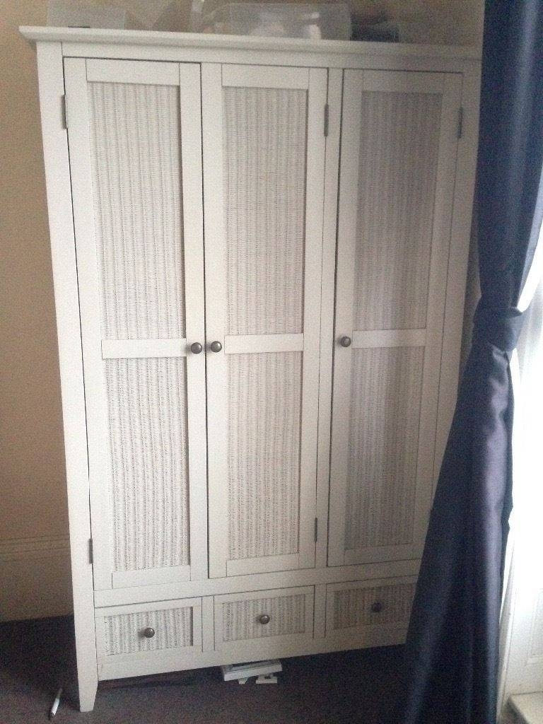 Two Wooden White Wicker Wardrobes & Chest Of Drawers | In Margate in White Wicker Wardrobes (Image 11 of 15)