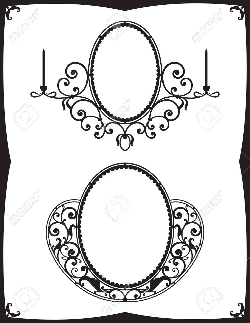 Two Wrought-Iron Frames For Mirrors Royalty Free Cliparts, Vectors intended for Black Wrought Iron Mirrors (Image 19 of 25)