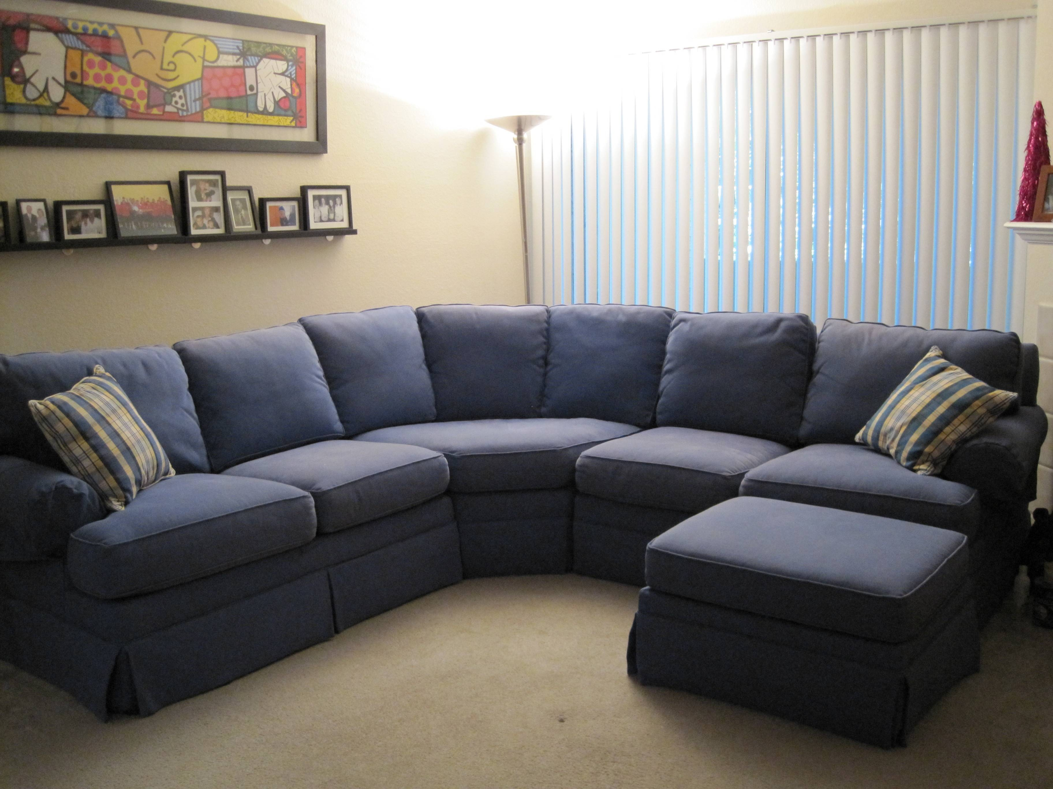 U Shape Blue Fabric Sofa With Back Also Cream Black Plaid Cushions with regard to Oval Sofas (Image 28 of 30)