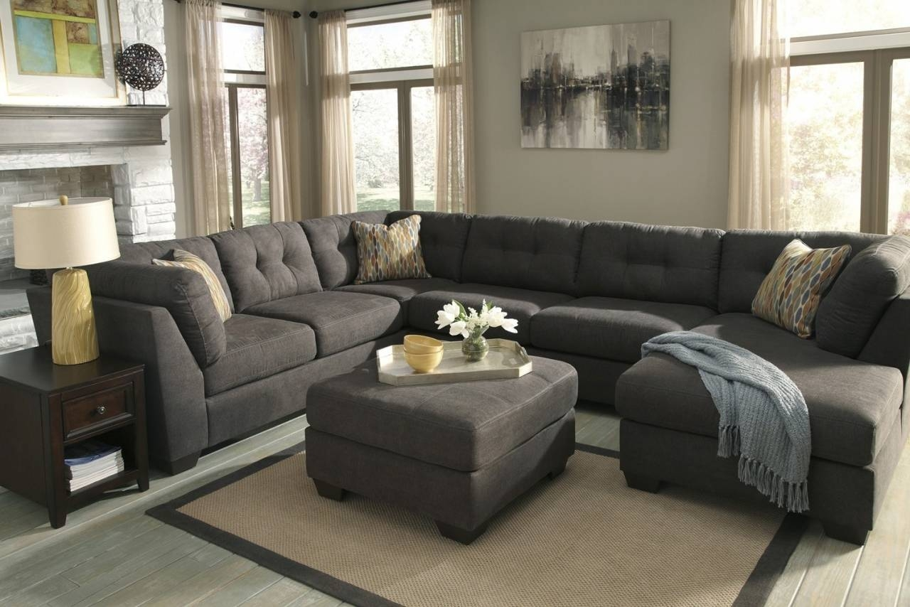 U Shape Gray Canvas Fabric Sectional Sofa With Tufted Backrest And with Sectional Sofa With Oversized Ottoman (Image 30 of 30)