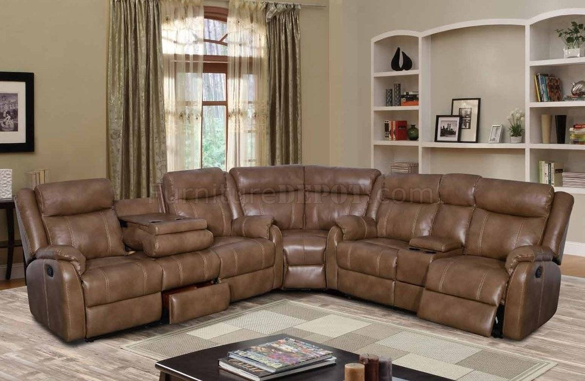 U7303C Motion Sectional Sofa In Walnut Leather Gelglobal with Motion Sectional Sofas (Image 28 of 30)