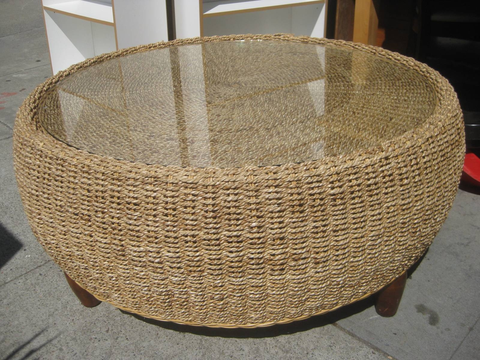 Uhuru Furniture & Collectibles: Sold - Wicker Drum Coffee Table - $70 for Coffee Table With Wicker Basket Storage (Image 21 of 30)