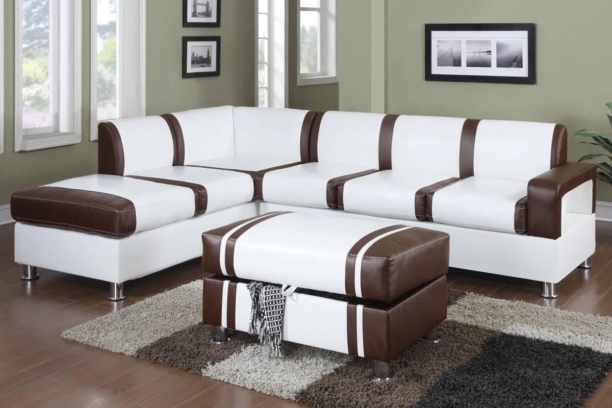 Ultra Modern Two Tone Faux Leather Sectional Sofa With Ottoman for Faux Leather Sectional Sofas (Image 22 of 25)