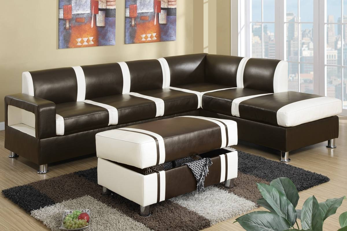 Ultra Modern Two Tone Faux Leather Sectional Sofa With Ottoman with regard to Faux Leather Sectional Sofas (Image 24 of 25)