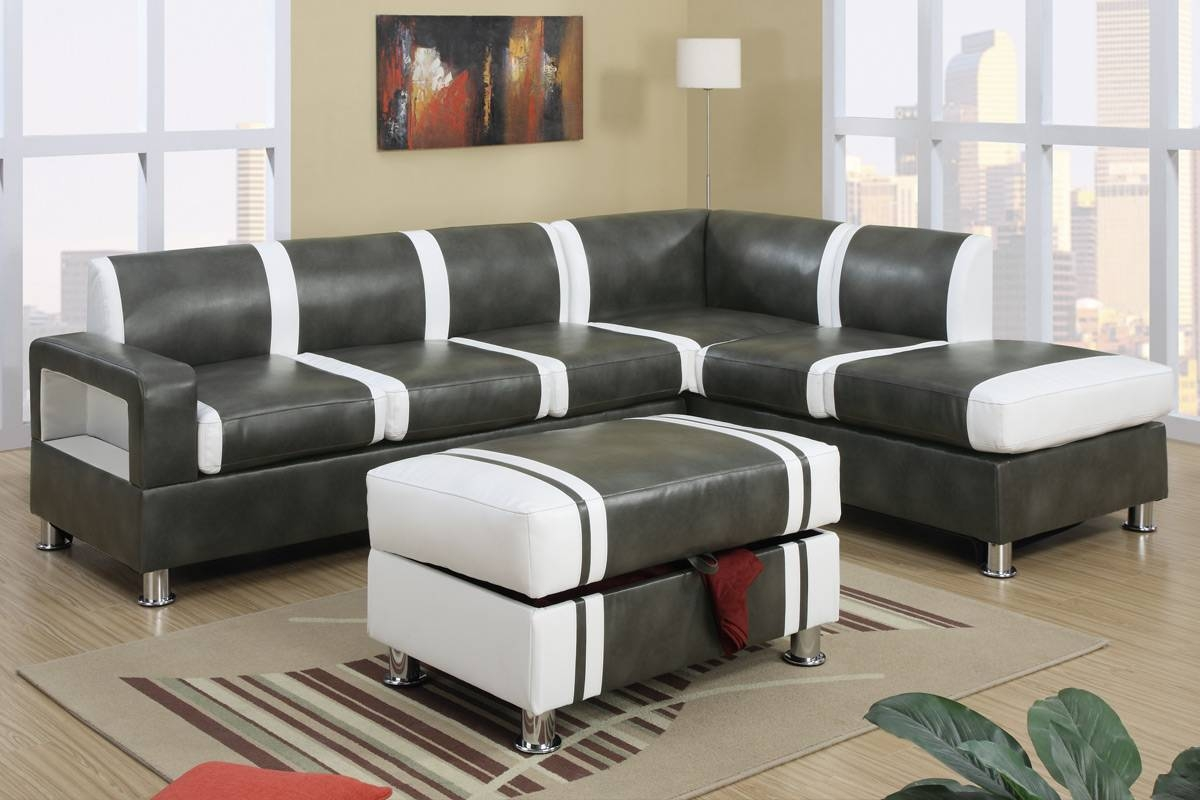 Ultra Modern Two Tone Faux Leather Sectional Sofa With Ottoman with regard to Faux Leather Sectional Sofas (Image 23 of 25)