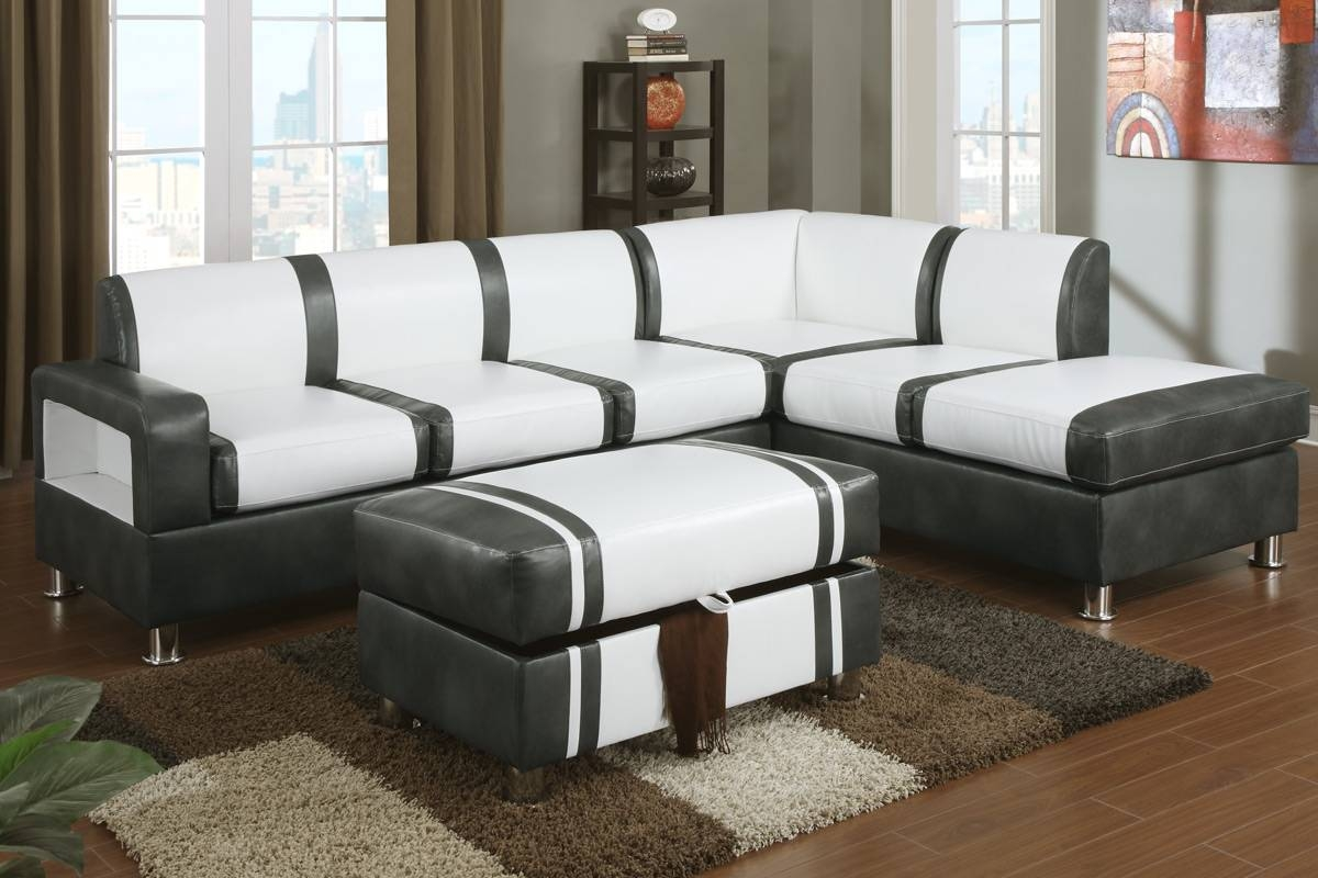 Ultra Modern Two Tone Faux Leather Sectional Sofa With Ottoman within Two Tone Sofas (Image 30 of 30)