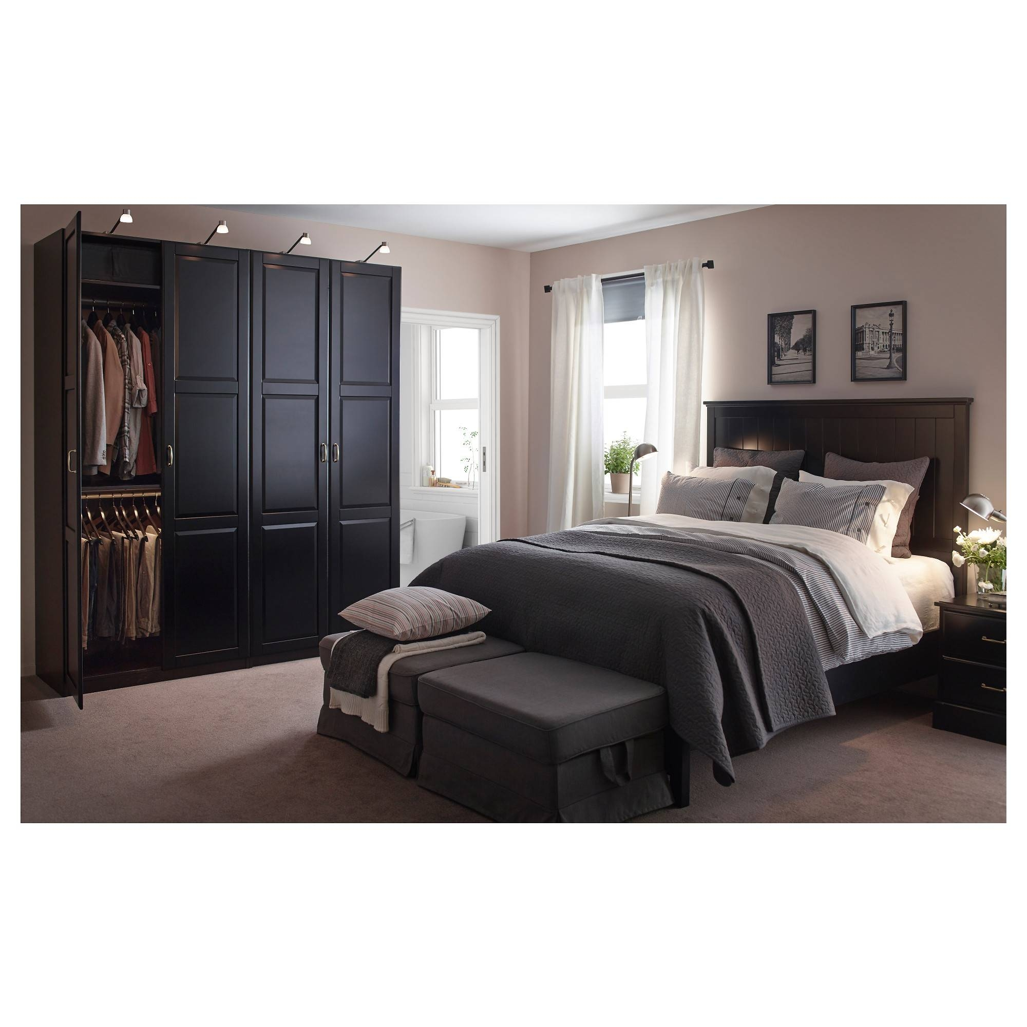 Undredal Door Black 50X229 Cm - Ikea throughout Bed and Wardrobes Combination (Image 13 of 15)