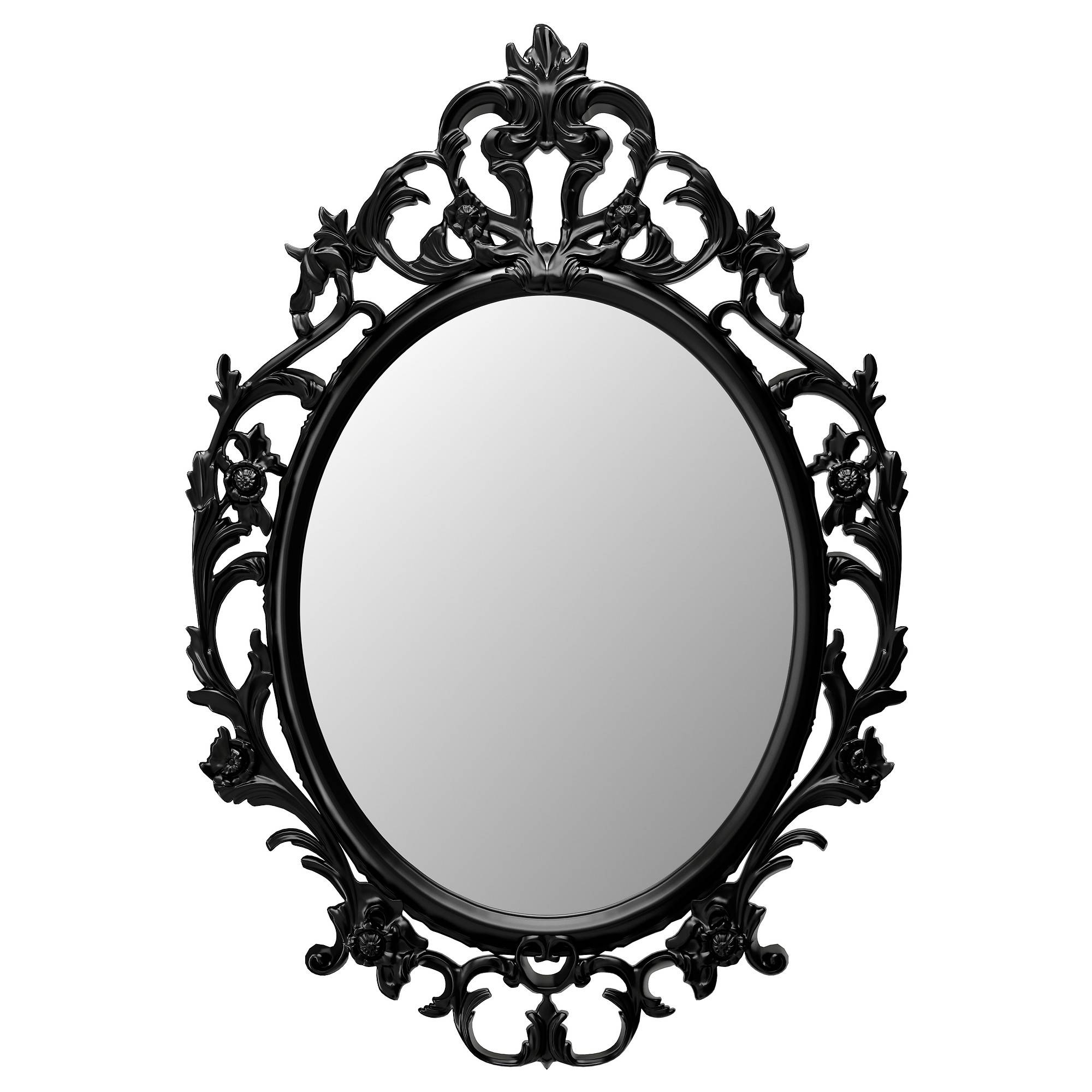 Ung Drill Mirror Oval/black 59X85 Cm – Ikea With Baroque White Mirrors (View 22 of 25)