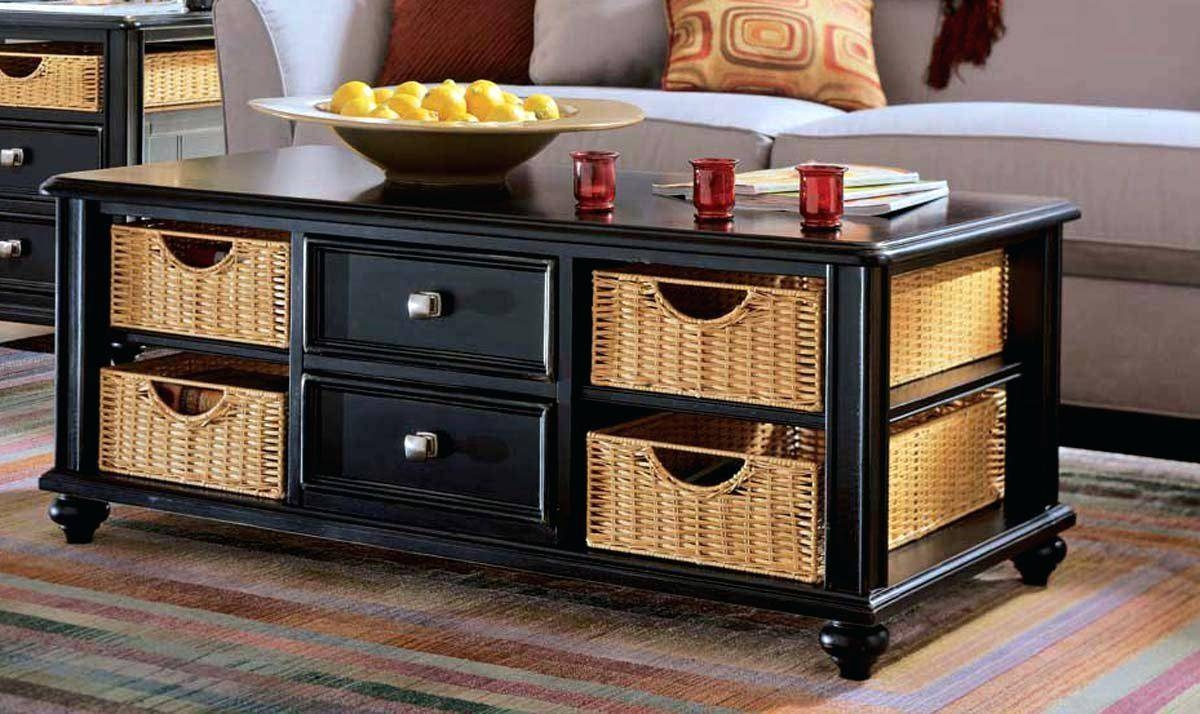 Union Square Wicker Basket Storage Black Coffee Table | Coffee with regard to Coffee Table With Wicker Basket Storage (Image 25 of 30)