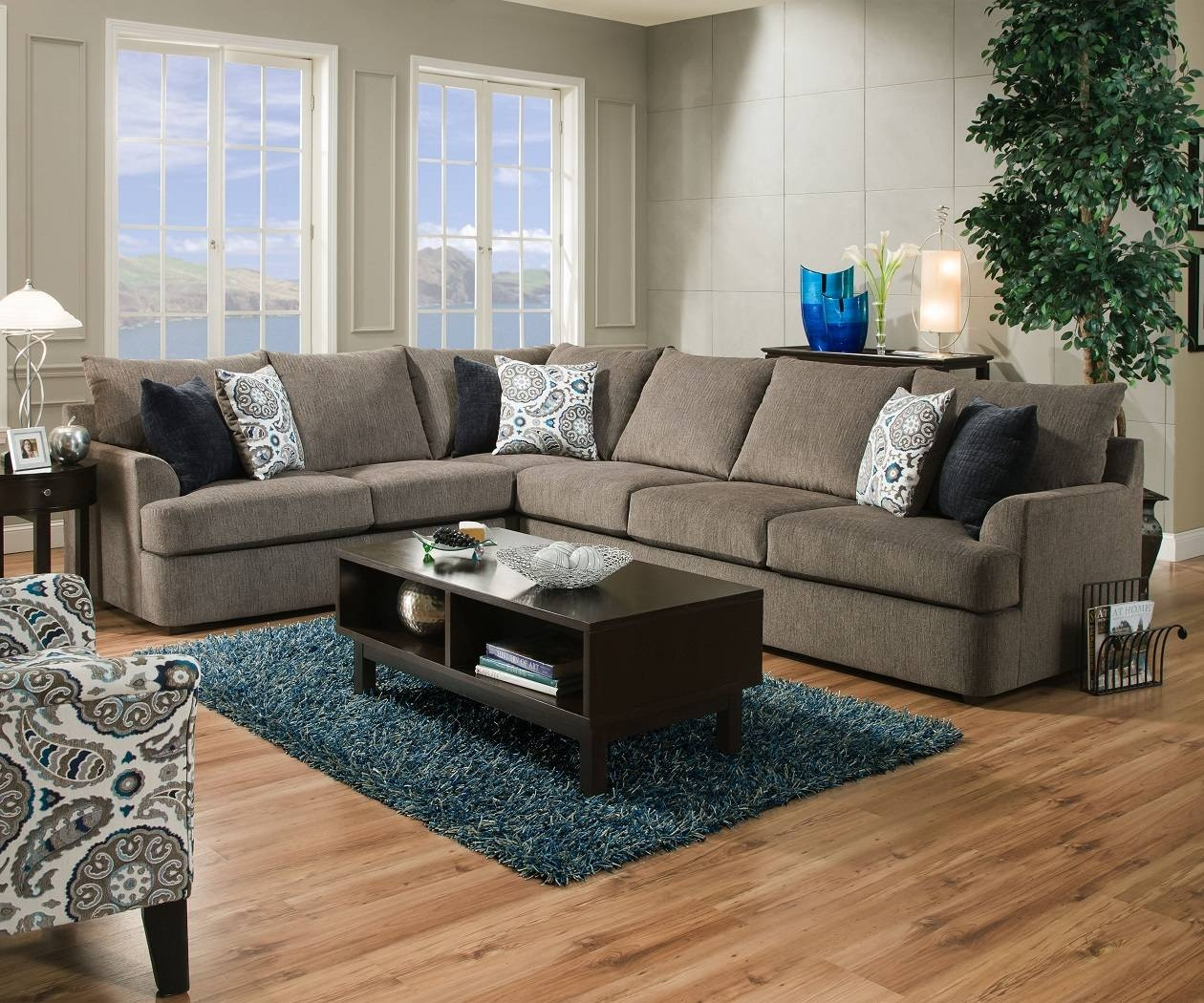 United Simmons Grandstand 8540 Beautyrest Grey Sectional Sofa in Simmons Sectional Sofas (Image 30 of 30)