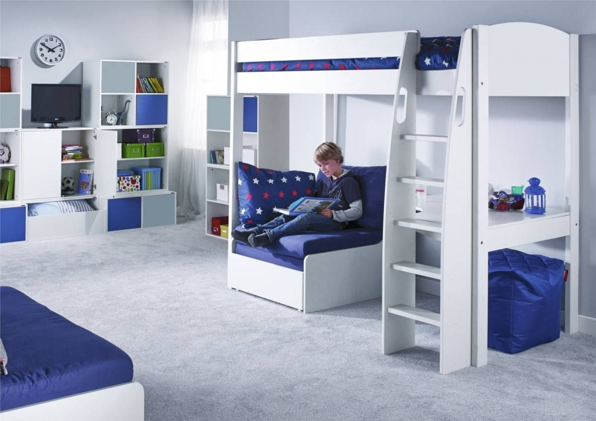 Unos High Sleeper Frame With Desk And Chair Bed Only throughout High Sleeper With Sofa And Desk (Image 22 of 25)