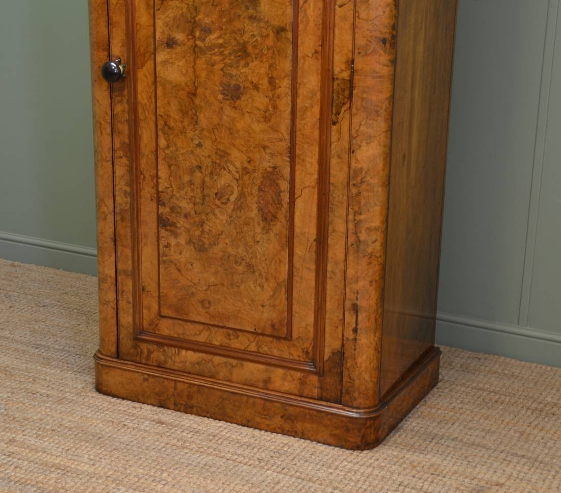 Unusual Burr Walnut Victorian Antique Single Wardrobe - Antiques World with Antique Single Wardrobes (Image 12 of 15)