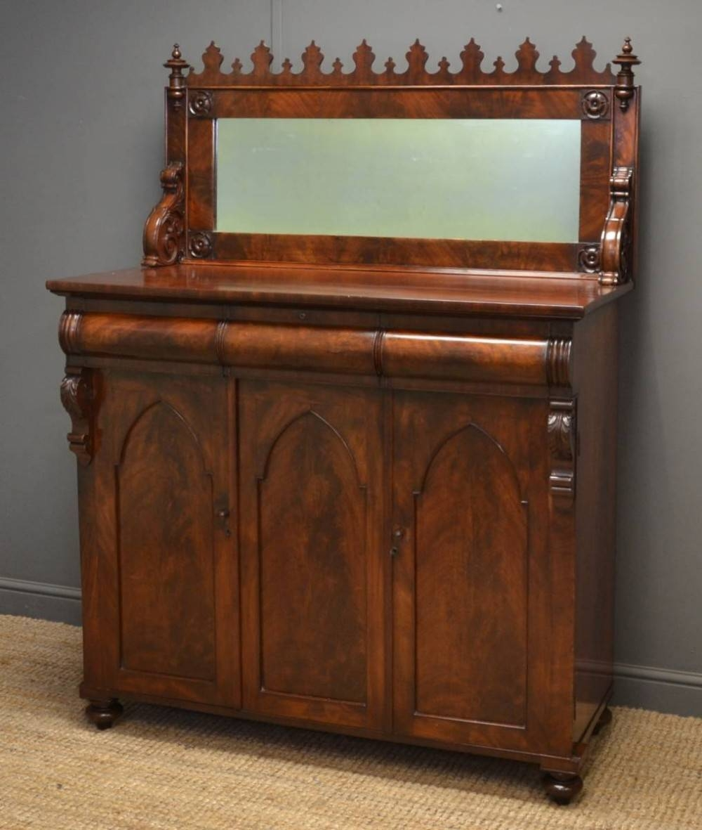 Unusual William Iv Castellated Flamed Mahogany Antique Chiffonier throughout Unusual Sideboards (Image 30 of 30)