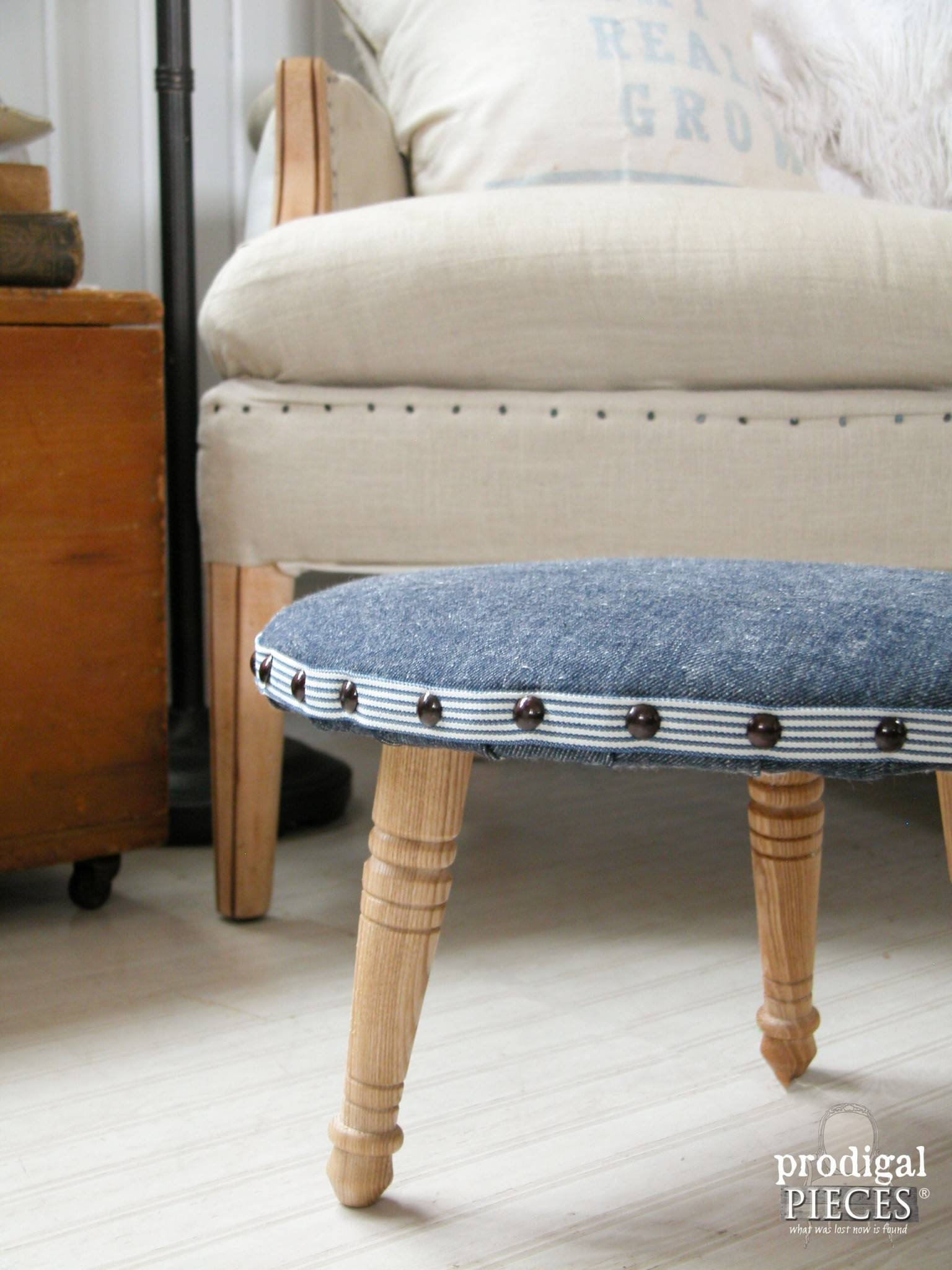 Upholstered Footstool ~ A One-Legged Wonder - Prodigal Pieces pertaining to Upholstered Footstools (Image 27 of 30)