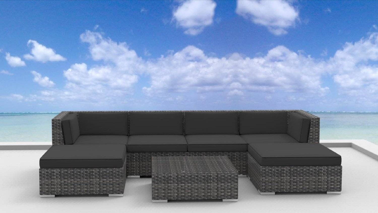 Urban Furnishing - Maui 7Pc Modern Wicker Rattan Patio Furniture with regard to Modern Rattan Sofas (Image 29 of 30)