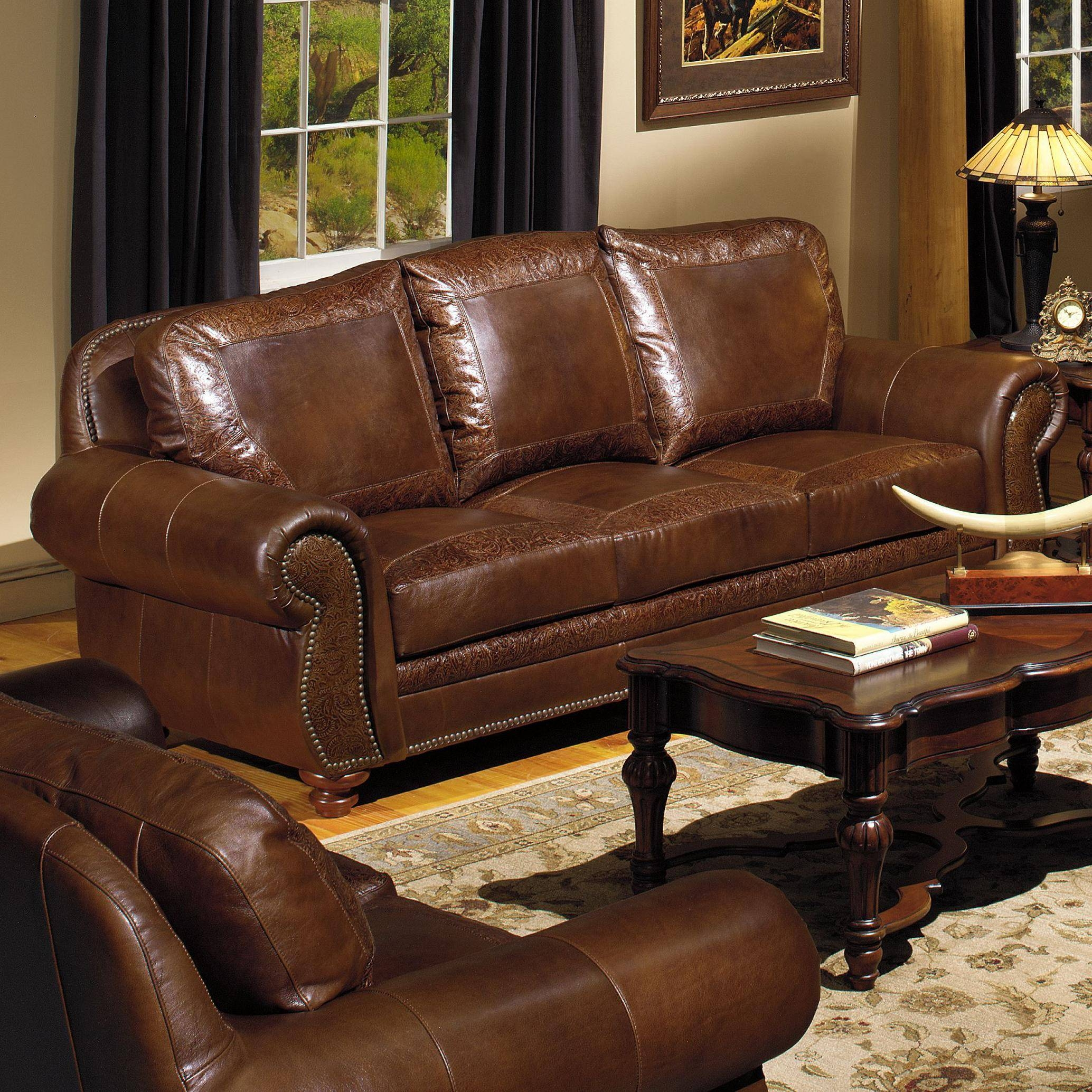 Usa Premium Leather 8555 Traditional Leather Sofa With Nailhead in Traditional Leather Couch (Image 29 of 30)