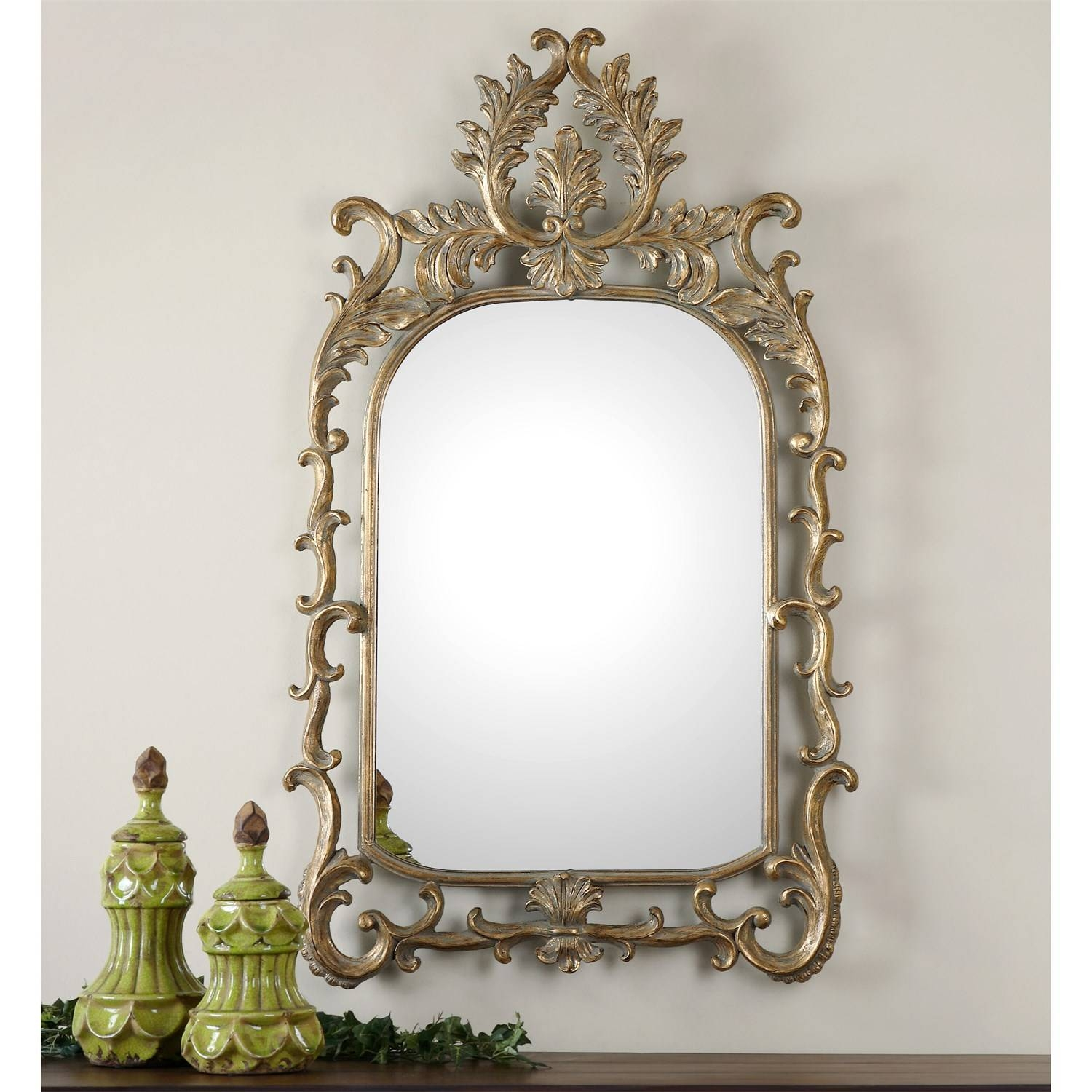 Uttermost 08117 Abelia Arch Mirror In Antiqued Gold Leaf for Gold Arch Mirrors (Image 22 of 25)