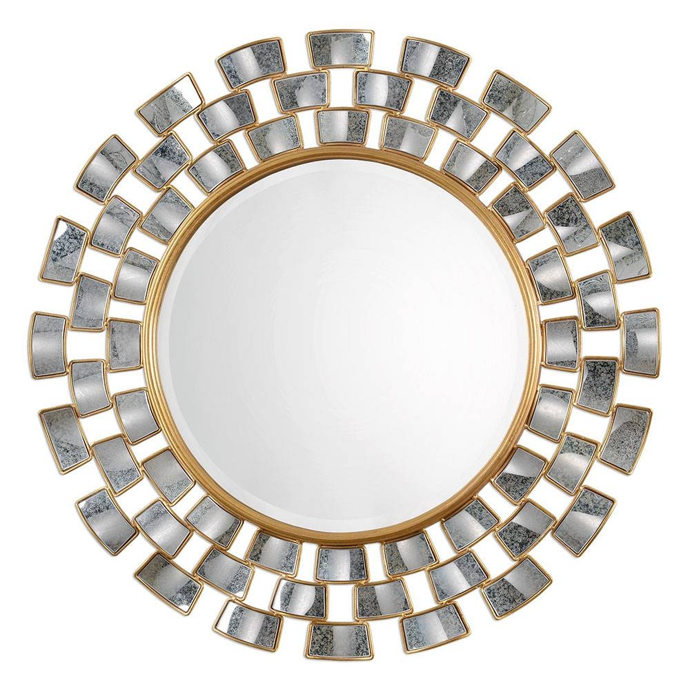 Uttermost 09107 Rachida Contemporary Heavily Antiqued Gold Leaf within Gold Round Mirrors (Image 23 of 25)