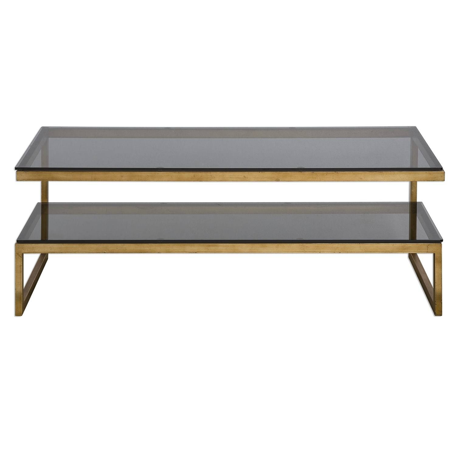 Uttermost 24619 Adeen Glass Coffee Table - Homeclick in Glass Coffee Tables With Shelf (Image 27 of 30)