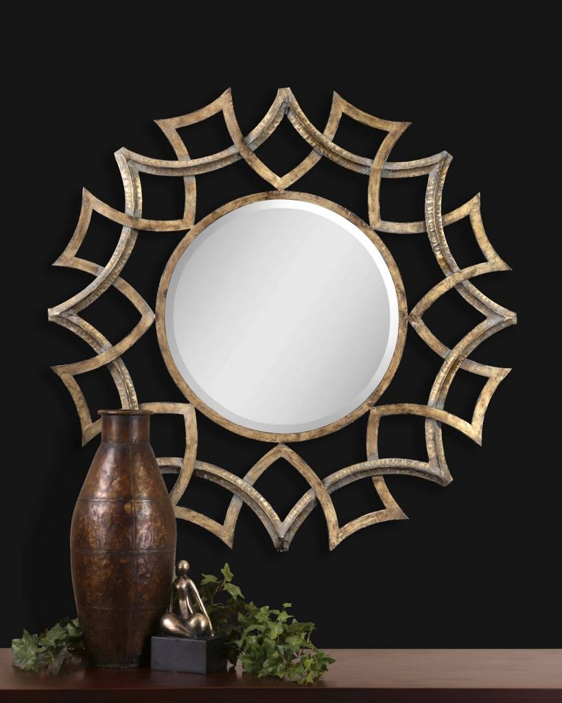 Uttermost Demarco Round Antique Gold Mirror 12730 B inside Gold Round Mirrors (Image 24 of 25)