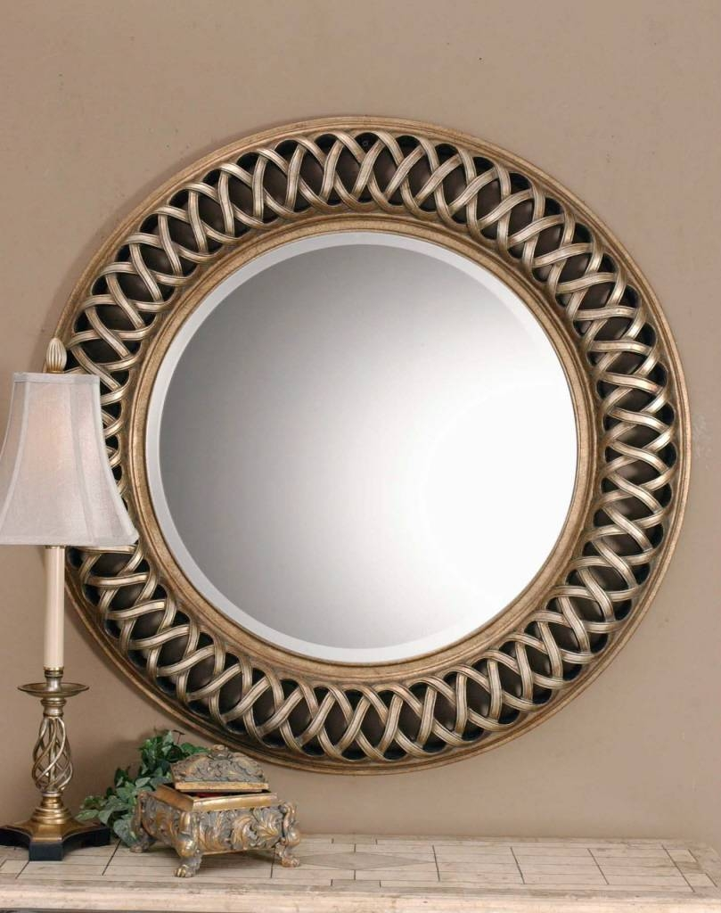 Uttermost Entwined Antique Gold Mirror 14028 B in Large Circular Mirrors (Image 24 of 25)