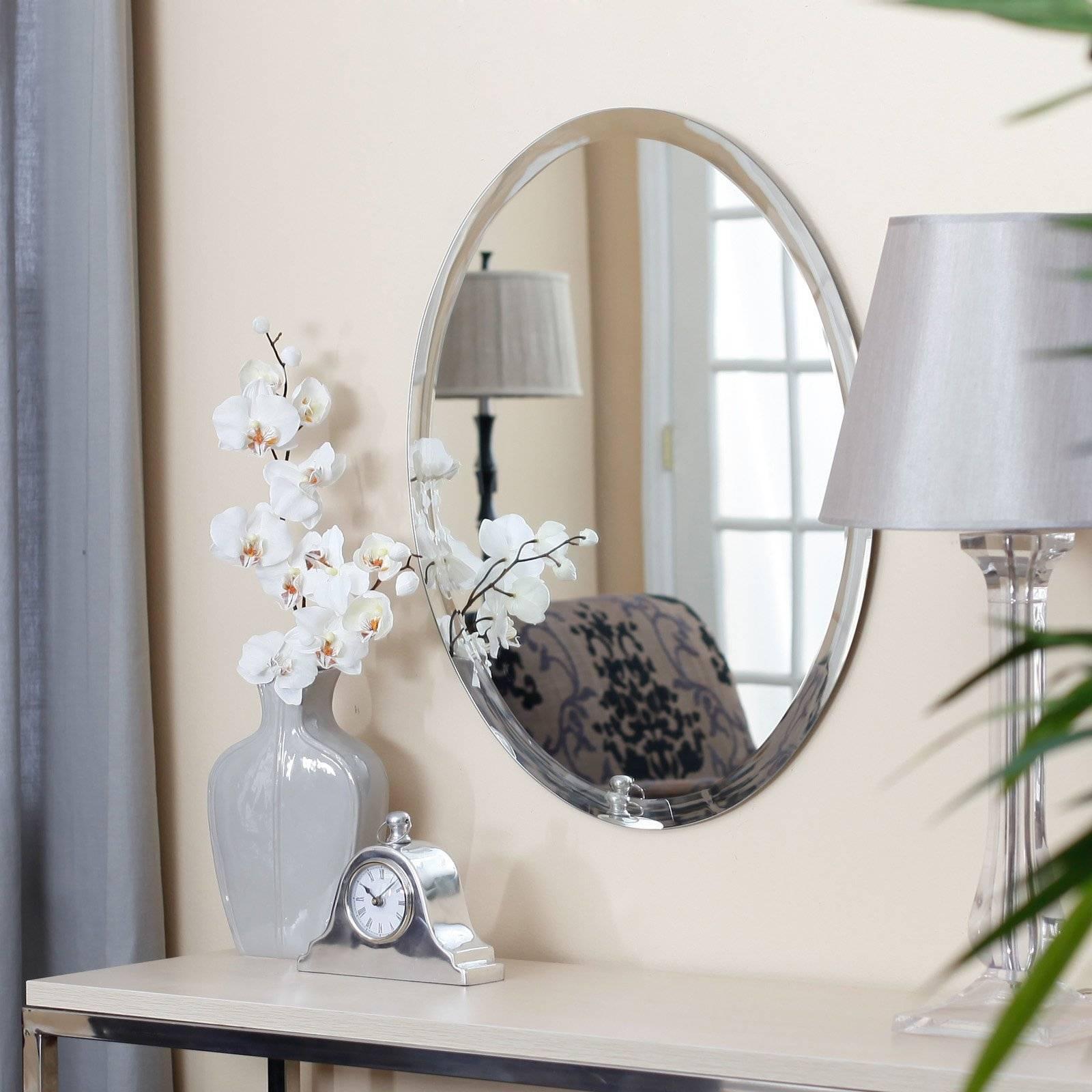Uttermost Frameless Oval Beveled Vanity Mirror | Hayneedle regarding Beveled Edge Oval Mirrors (Image 25 of 25)