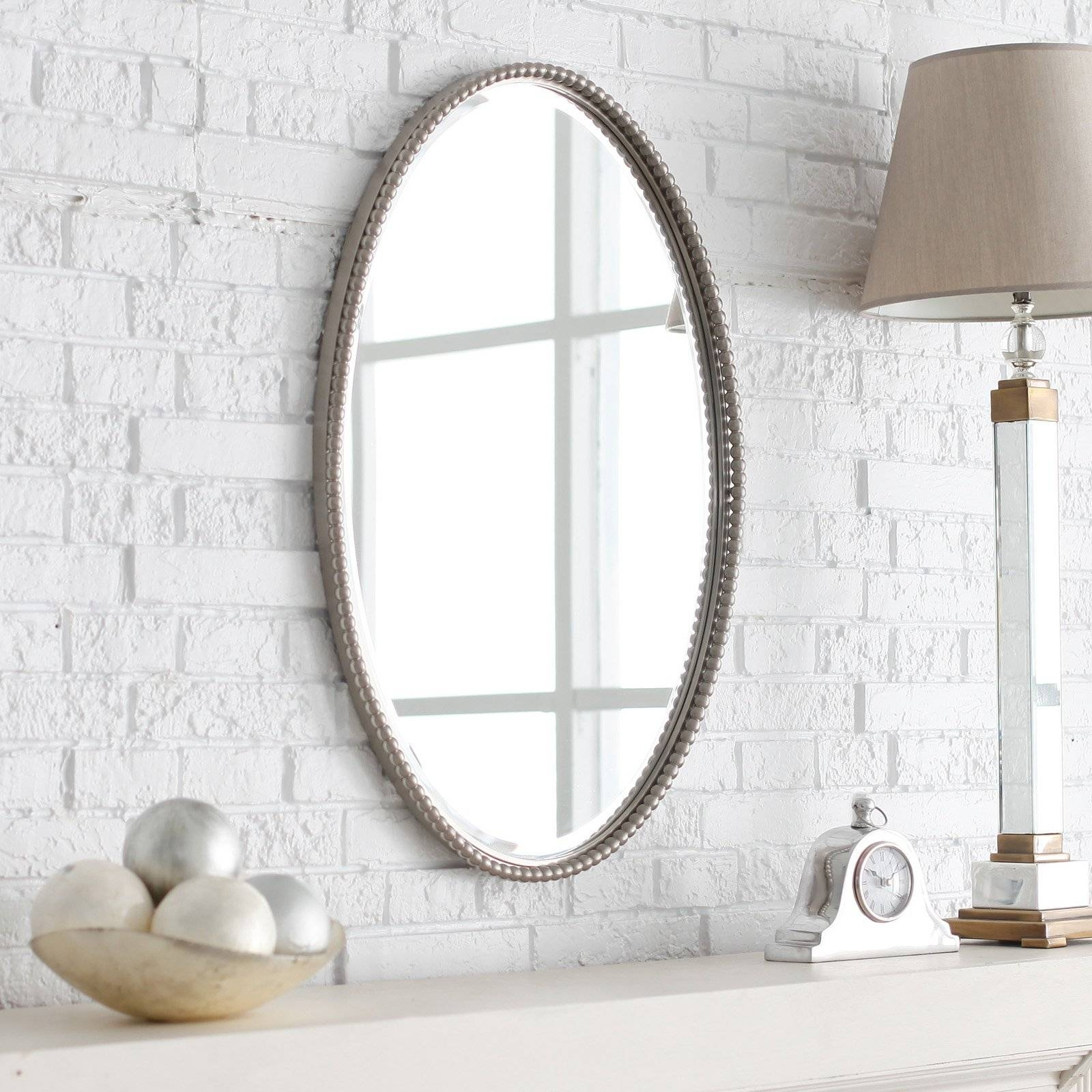 Uttermost Frameless Oval Beveled Vanity Mirror | Hayneedle with regard to Oval Wall Mirrors (Image 25 of 25)