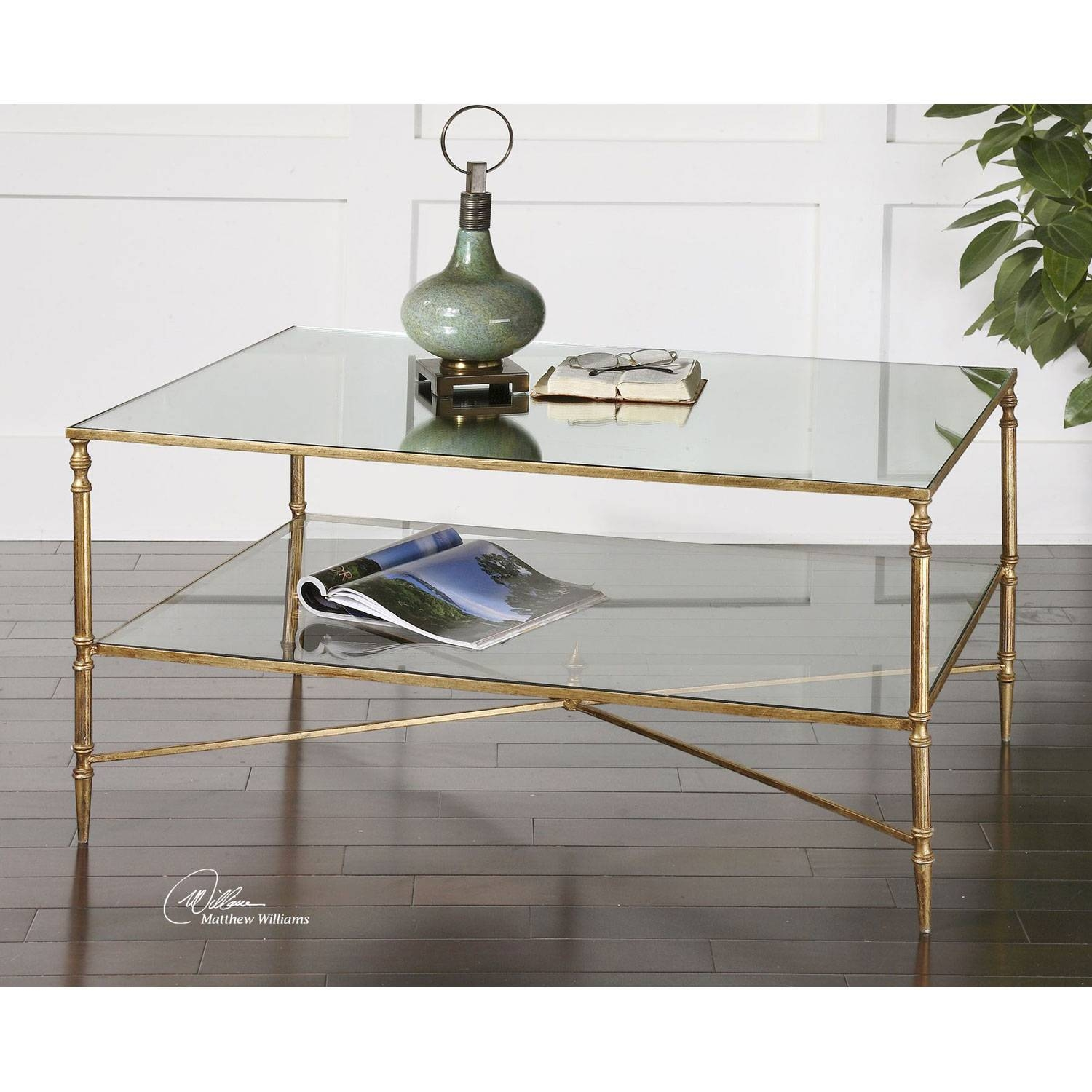 Uttermost Gold Henzler Coffee Table On Sale regarding Glass Coffee Tables With Shelf (Image 29 of 30)