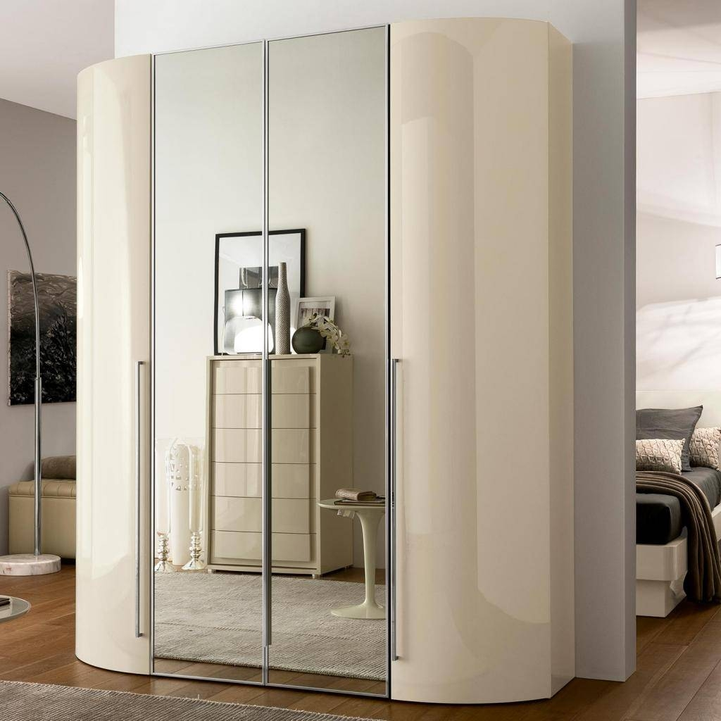 Valdina Curved 4Dr Cream High Gloss Wardrobe | Ebay pertaining to High Gloss Wardrobes (Image 9 of 15)