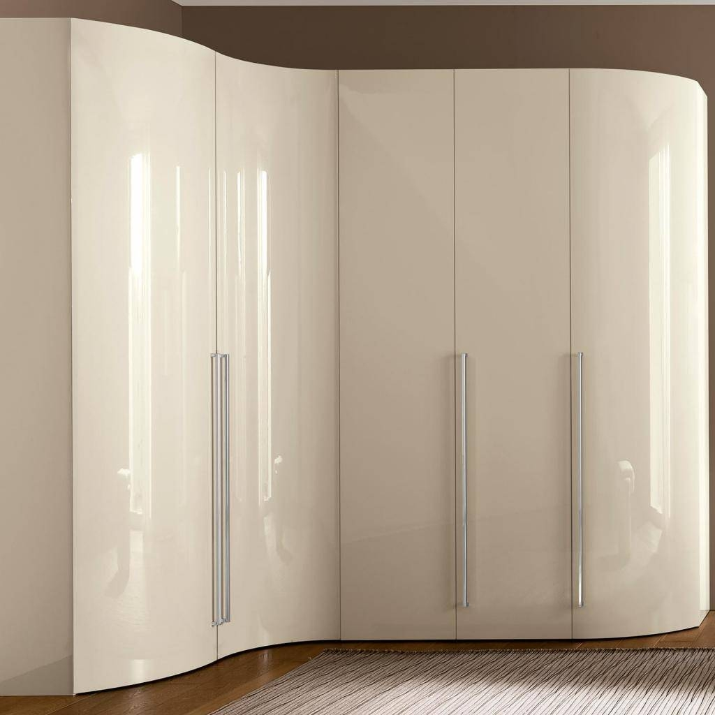Valdina Curved 5Dr Cream High Gloss Wardrobe | Ebay regarding Cream Wardrobes (Image 14 of 15)