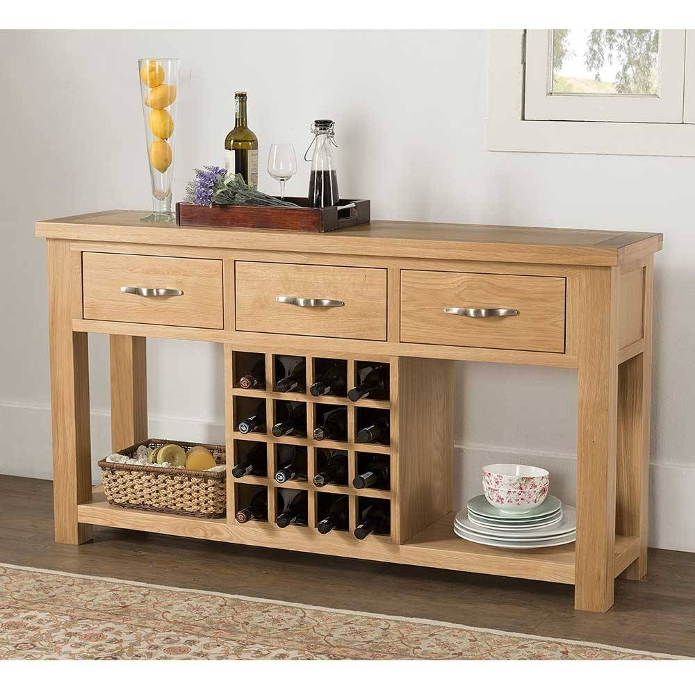 Valencia Oak Contemporary Open Sideboard With Wine Rack With 3 inside Oak Sideboards With Wine Rack (Image 27 of 30)