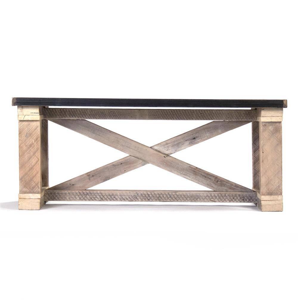 Valerya Zinc Top Chunky Rustic Solid Wood Coffee Table | Kathy Kuo In Chunky Rustic Coffee Tables (View 24 of 30)
