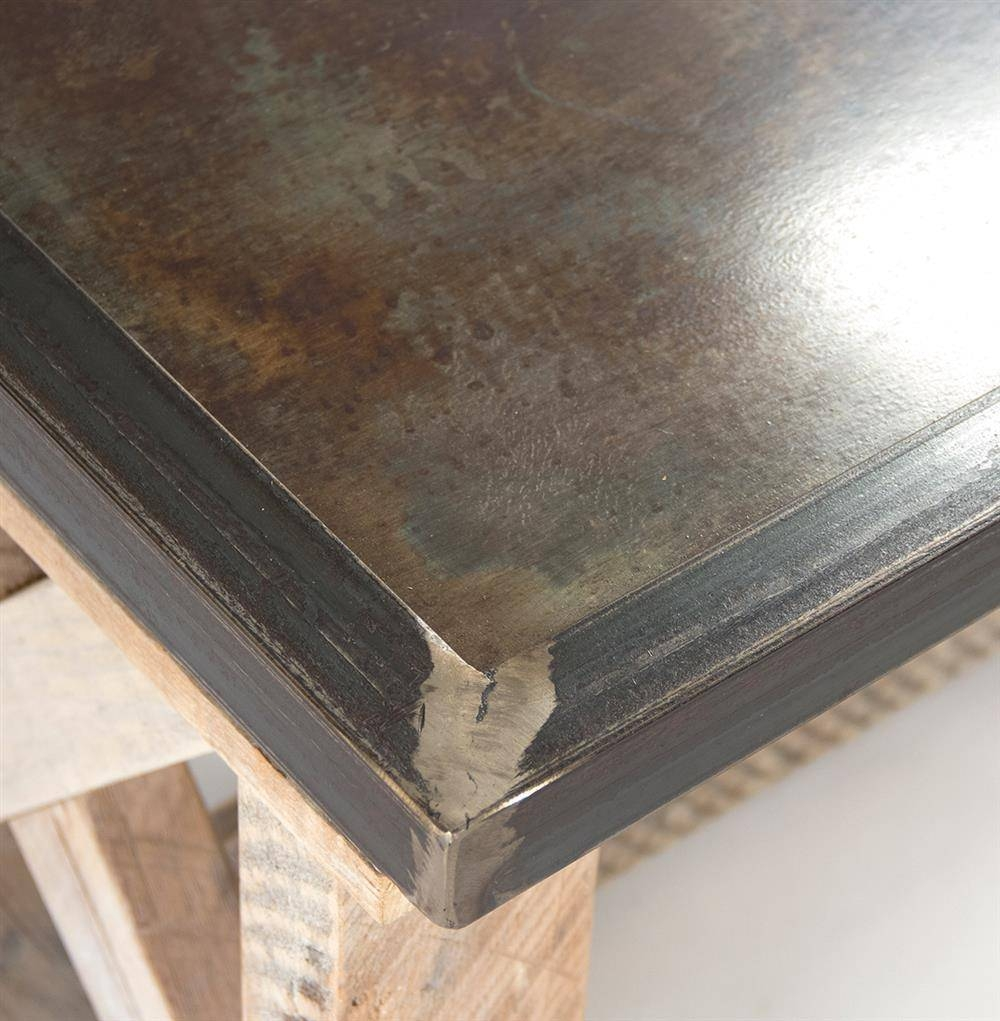 Valerya Zinc Top Chunky Rustic Solid Wood Coffee Table | Kathy Kuo in Chunky Wood Coffee Tables (Image 23 of 30)
