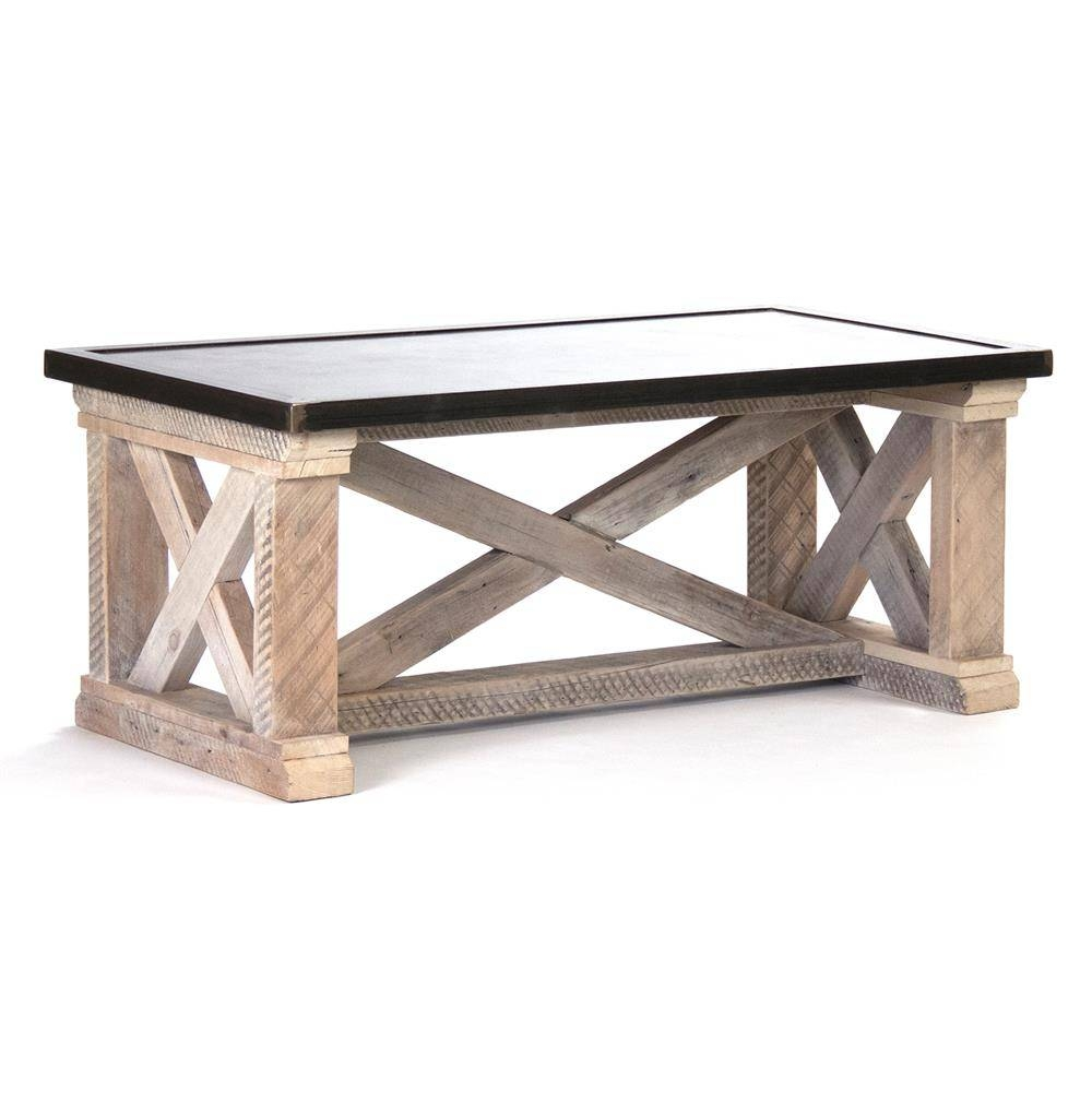 Valerya Zinc Top Chunky Rustic Solid Wood Coffee Table | Kathy Kuo regarding Chunky Coffee Tables (Image 23 of 30)
