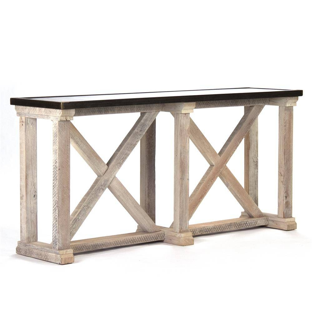 Valerya Zinc Top Chunky Rustic Solid Wood Console Table | Kathy within Chunky Wood Coffee Tables (Image 26 of 30)