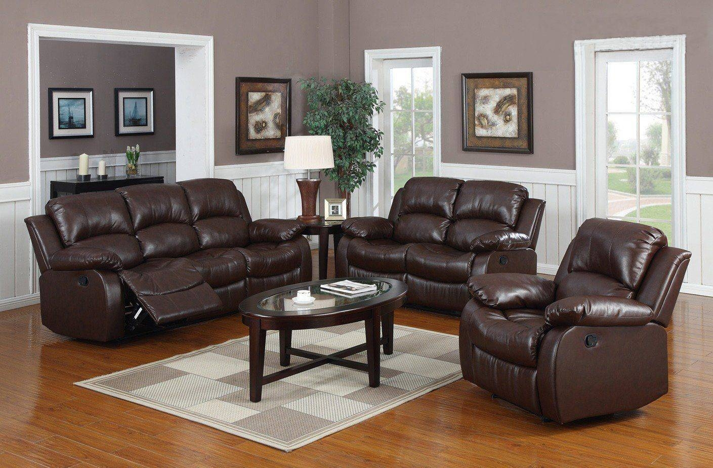 Value City Furniture Recliner Sofas Dark Brown Leathered Sofa Set regarding Oval Sofas (Image 29 of 30)