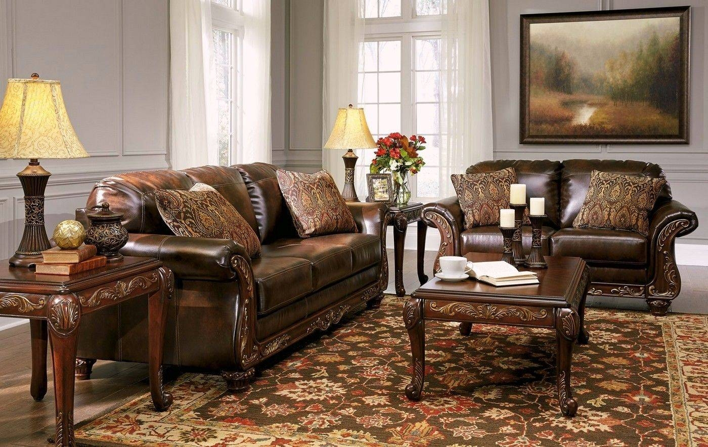 Vanceton Mocha Brown Leather Traditional Wood Sofa & Loveseat with regard to Traditional Leather Couch (Image 30 of 30)