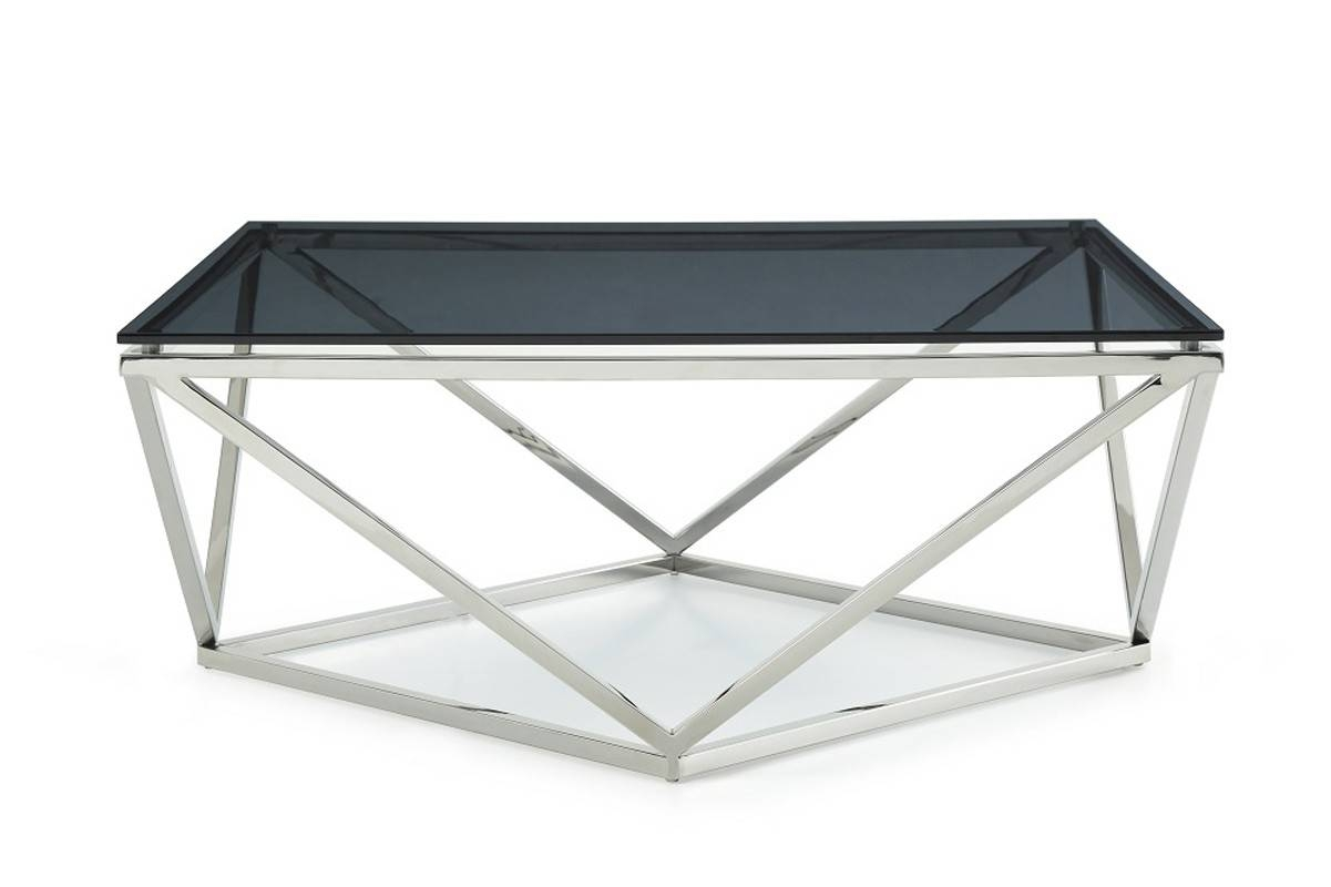 Vector Modern Smoked Glass & Stainless Steel Coffee Table With Steel And Glass Coffee Tables (View 30 of 30)