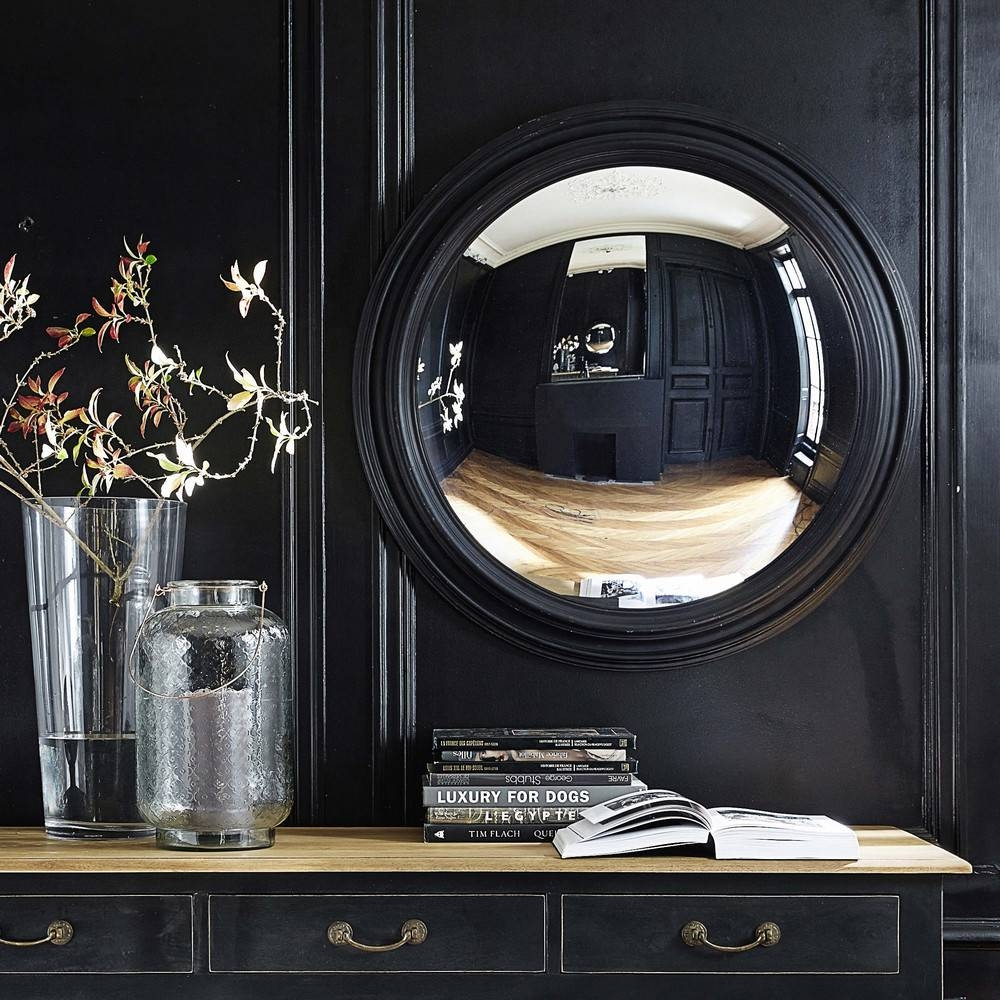 Vendome Wooden Convex Mirror In Black H 90Cm | Maisons Du Monde with Black Convex Mirrors (Image 24 of 25)