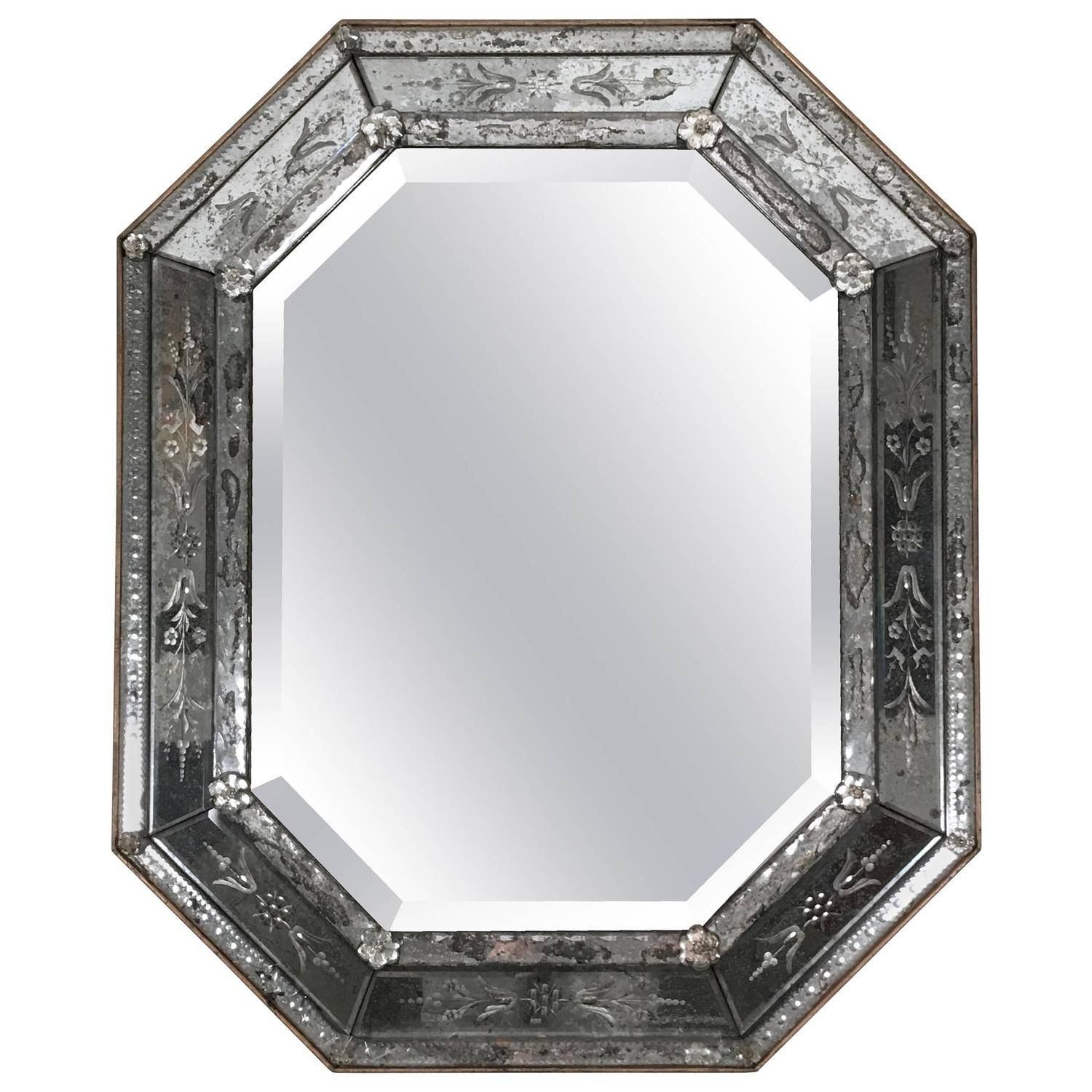 Venetian Etched Glass Octagonal Mirror At 1Stdibs intended for Square Venetian Mirrors (Image 22 of 25)